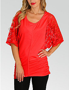 Coral Lace Sleeve Top by alight