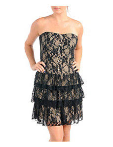 Lace Strapless Party Dress by Dori