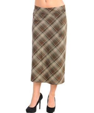 Brown Cross Pattern Skirt
