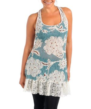 Blue Floral Vines Tunic