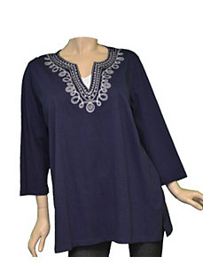 Navy Native Neckline Top by alight