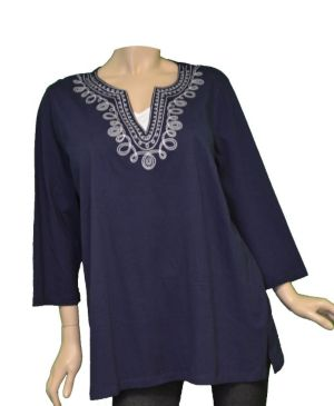 Navy Native Neckline Top