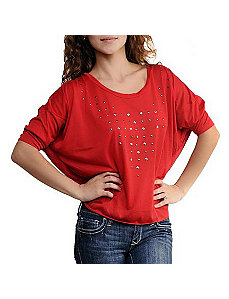 Red Starlit Top by One Step Up Plus