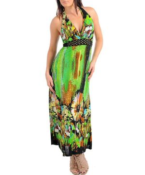 Patterned Green Maxi Dress