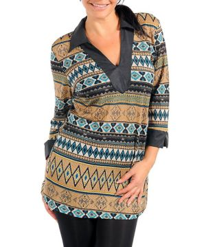 Clay Multi Colored V Neck Top