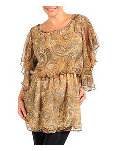 Tan Paisly Print Top by Zenobia