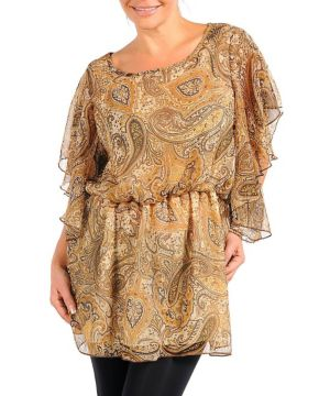 Tan Paisly Print Top
