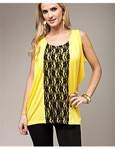 Yellow Lace Up Top by alight