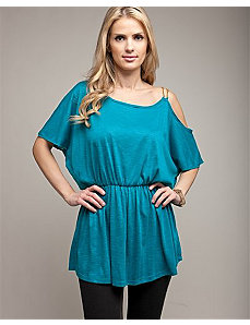 One Shoulder Gold Chain Teal Blouse by alight