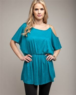 One Shoulder Gold Chain Teal Blouse