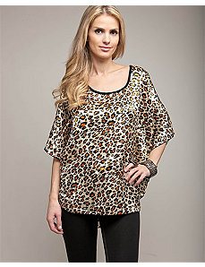 Cheetah Peep Shoulder Cape Top by alight