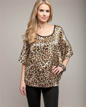 Cheetah Peep Shoulder Cape Top