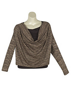 Brown Draped Cowl Top by alight