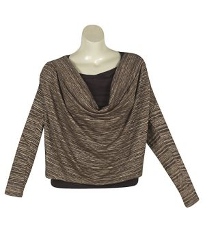 Brown Draped Cowl Top