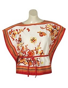 Red Stripe Floral Top by alight