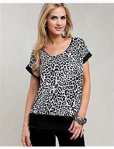 Black Cheetah & Lace Banded Blouse by alight