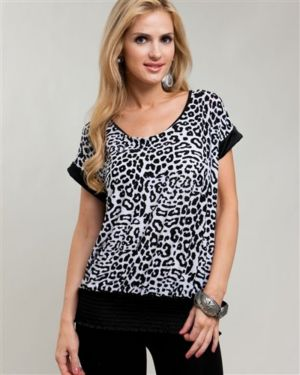 Black Cheetah & Lace Banded Blouse