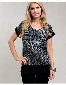 Gray Cheetah & Lace Banded Blouse by alight