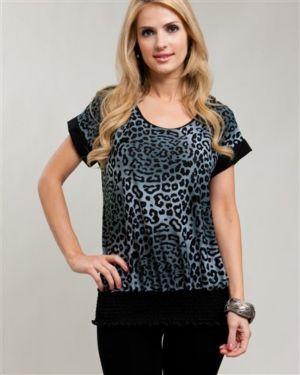 Gray Cheetah & Lace Banded Blouse