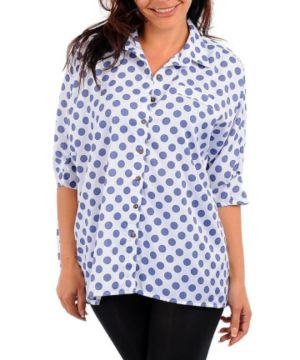 Blue Dotted Line Top