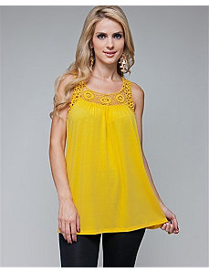 Yellow Dream Lace Tank by alight