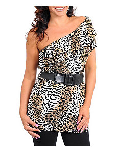 Brown Animal Belted Top by alight