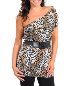 Brown Animal Belted Top