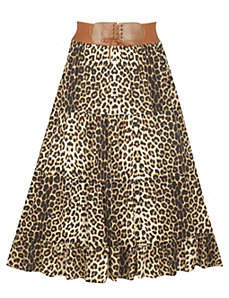 Belted Animal Print Skirt by alight