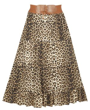 Belted Animal Print Skirt
