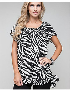 Side Tie Zebra Blouse by alight