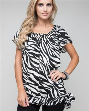 Side Tie Zebra Blouse