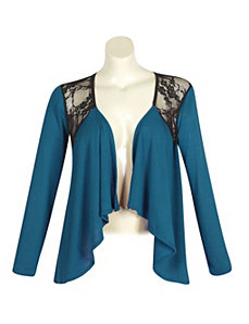 Teal Lace Open Cardigan by alight