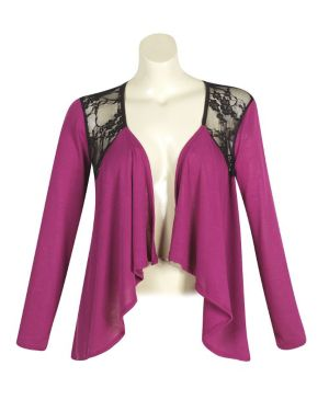 Magenta Lace Open Cardigan