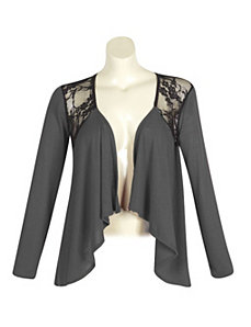 Charcoal Lace Open Cardigan by alight