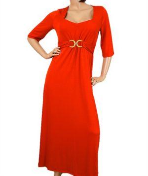 Gold Accent Orange Maxi Dress