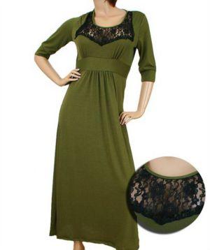 Olive Lace Maxi Dress