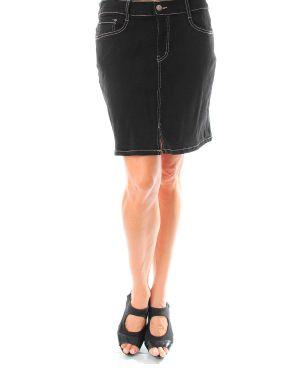 Coal Black Jean Skirt