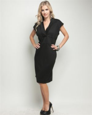 Black Vermont V-Neck Dress