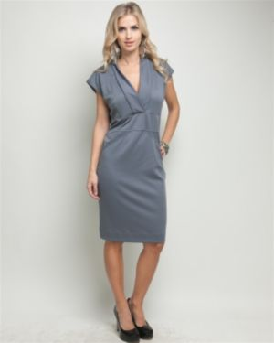 Grey Vermont V-Neck Dress