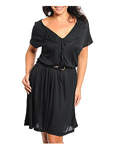 Black Belted Dress by alight