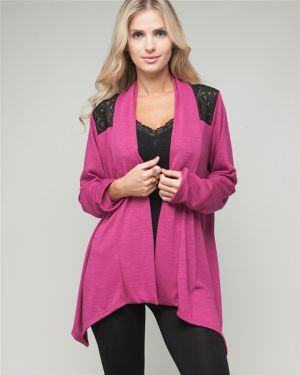 Fuchsia Lace Open Cardigan