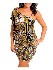 Animal One Shoulder Dress by alight