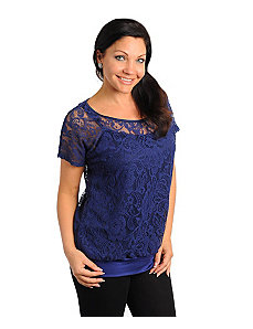 Navy Nowhere Lace Top by alight