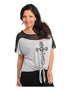 Light Grey Cross Top by alight