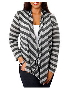 Grey Stripe Lace Back Cardigan by alight
