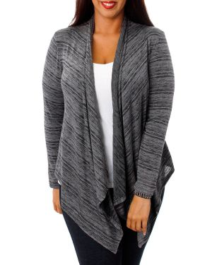 Heather Grey Lace Back Cardigan