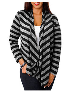 Black Stripe Lace Back Cardigan by alight