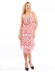 Red Print High Low Dress by alight