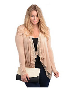 Taupe Lace Open Cardigan by alight