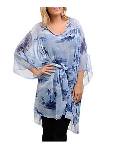 Blue Tropical Chiffon Tunic by alight